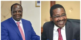 Council of Governors chairman Wycliffe Oparanya, left and his vice Mwangi Wa Iria