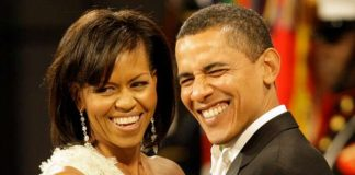 Former US President Barrack Obama with his wife Michelle Obama