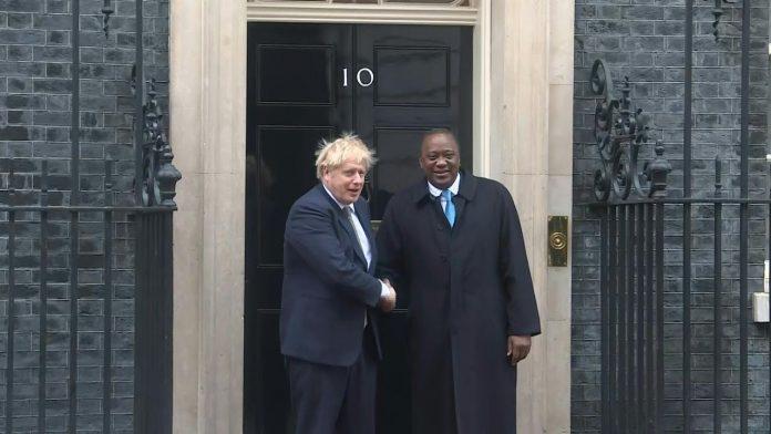 Kenyan President Uhuru Kenyatta, right, and UK Prime Minister Boris Johnson in a past event