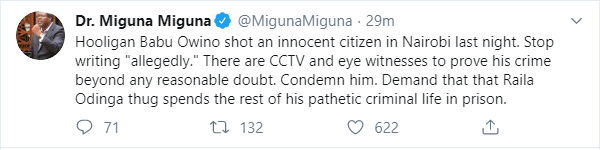 Miguna's post on Twitter shortly after Babu's arrest
