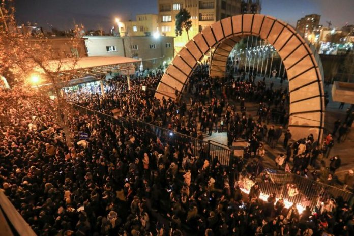 Protestors Take to the Streets at Tehran on Jan 8