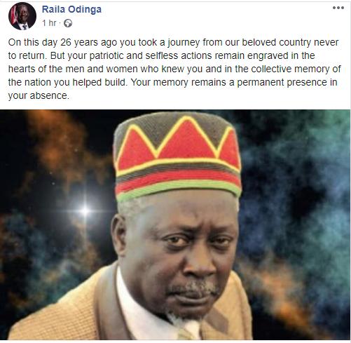 Raila Odinga's Facebook post