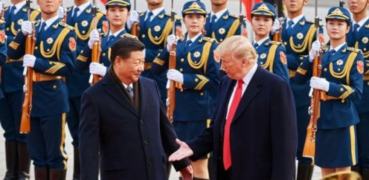 US President Donald Trump with his Chinese Counterpart Xi Jinping in a past event